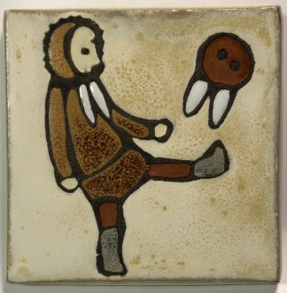 "4"" Ball Player Art Tile"