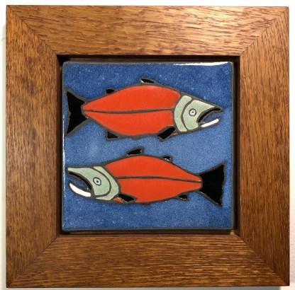 "^"" Salmon Tile in Oak Frame"