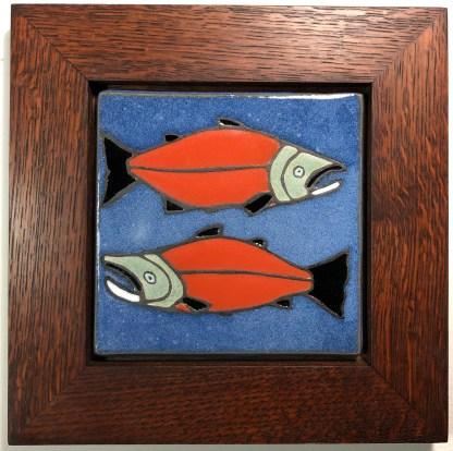 "6"" Salmon Tile with Oak Frame"