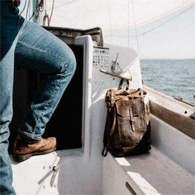 A backpack on a boat