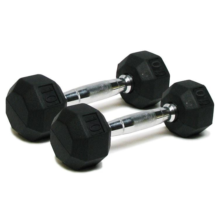 Deluxe Rubber Dumbbells – 10lb