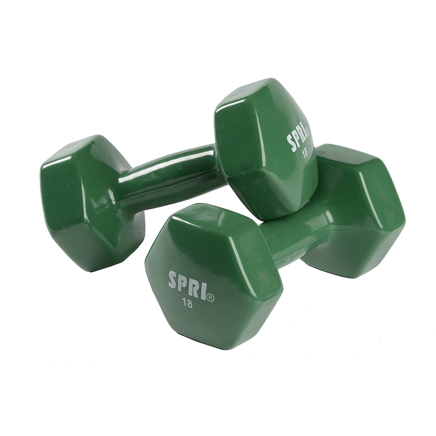 Deluxe Vinyl Dumbbells – 18lb Pair -forest Green