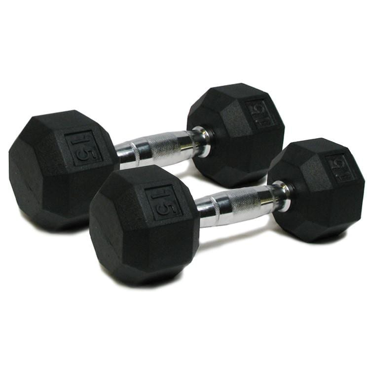 Deluxe Rubber Dumbbells – 15lb
