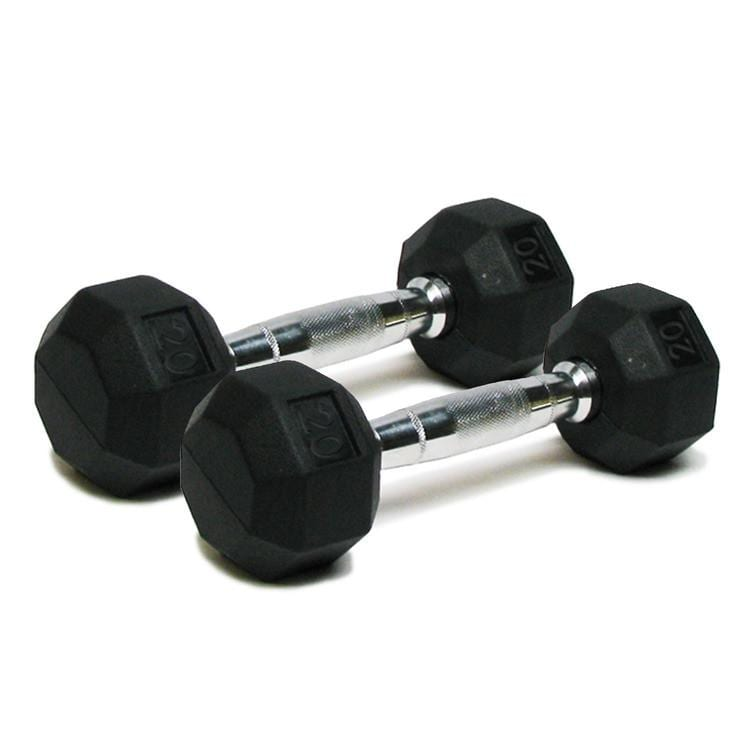 Deluxe Rubber Dumbbells – 20lb