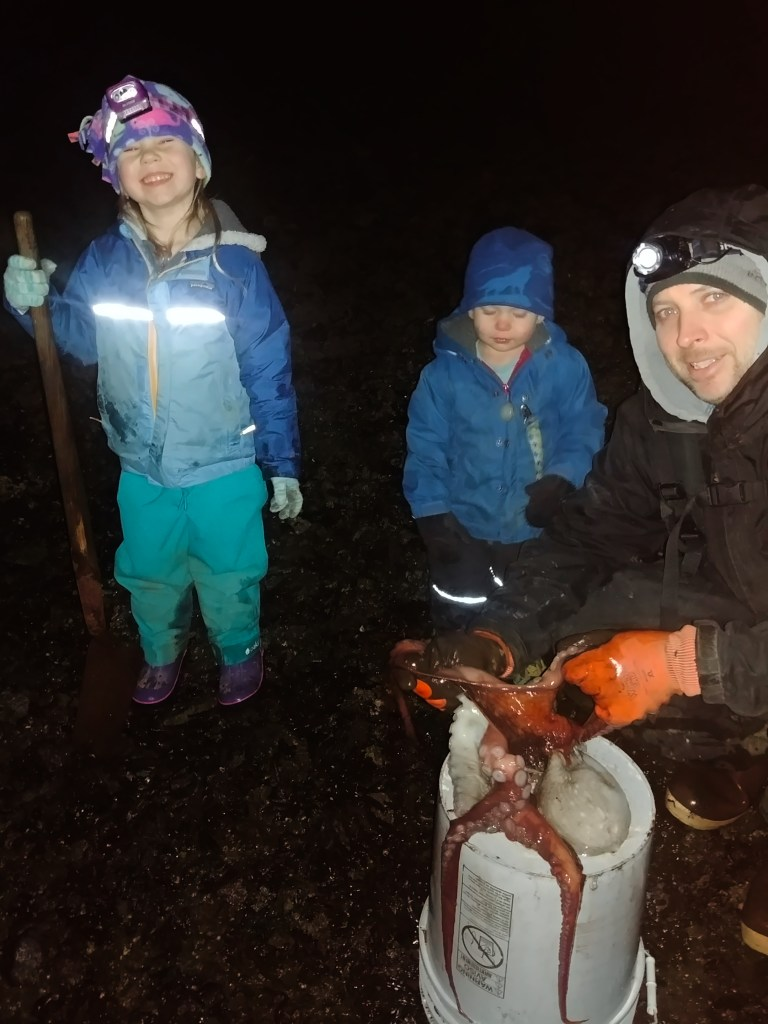 'A', 'D', and Chris with an octopus December, 2018.
