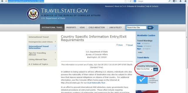 US State Department - Chose Country