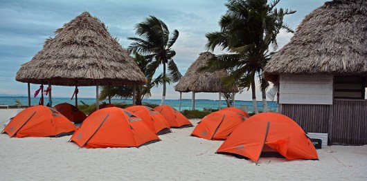 Tents on Rendezvous Caye