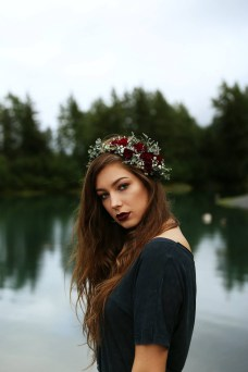 Flower crown made with crimson mini carnations, eucalyptus and baby's breath   designed by Natasha Price of Alaskaknitnat.com