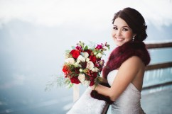 Alaska Winter Wedding   White and red roses, white and burgundy carnations, eucalyptus, red snapdragon, red hypericum, plumosa and spray roses. The perfect holiday bouquet from alaskaknitnat.com