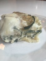 White vegetarian lasagna with spinach, zucchini and wild porcini mushrooms | a rich, flavorful dinner from Alaskaknitnat.com