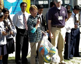 Every school received a bag of soccer and basketballs.
