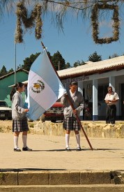 Proudly carrying the Guatemala flag while we all sang the National Anthem.