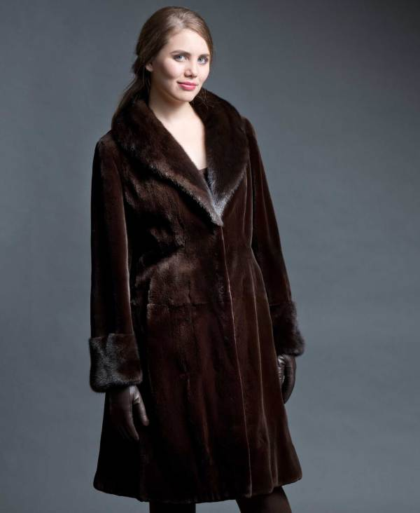 Sheared Mink 3 4 Coat With Collar & Cuff Brown Shown