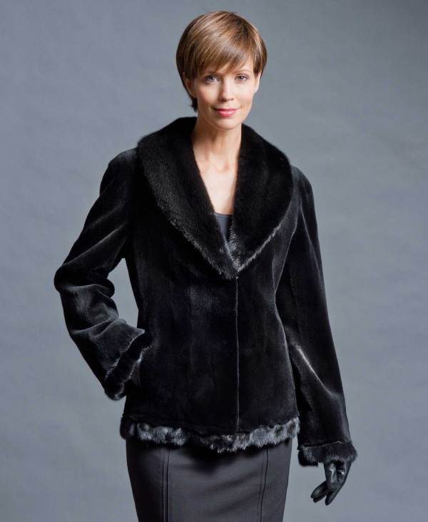 Black Sheared Mink Jacket With Trim