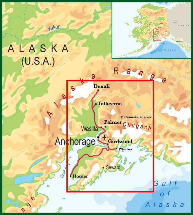 Map of Ultimate Alaska Adventurer Tour Package