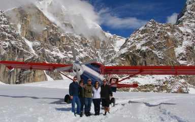Family glacier landing in Alaska