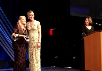 Award presentation on stage