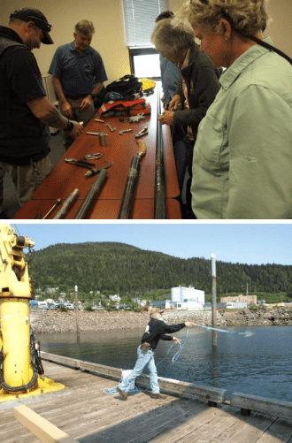 (1) people looking at pieces of rescue equipment on a table, and (2) a person practicing throwing a grappling hook into the water from a pier.