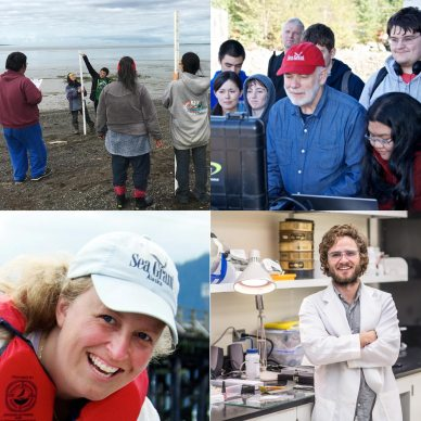 4 images, measuring beach erosion, an ROV demonstration, a young scientist in a lab, and a woman in Sea Grant hat smiling