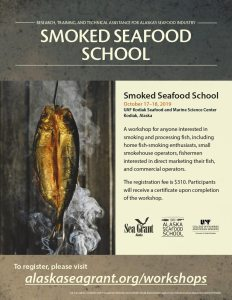 Smoked Seafood School, with image of fish being smoked and the address alaskaseagrant.org/workshops