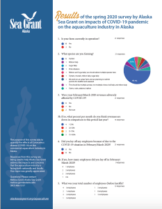 First page of the Alaska Sea Grant Impacts of COVID-19 on Aquaculture Survey Results