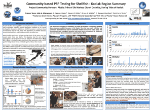 Thumbnail of scientific poster concerning community based PSP testing for shellfish in the kodiak region
