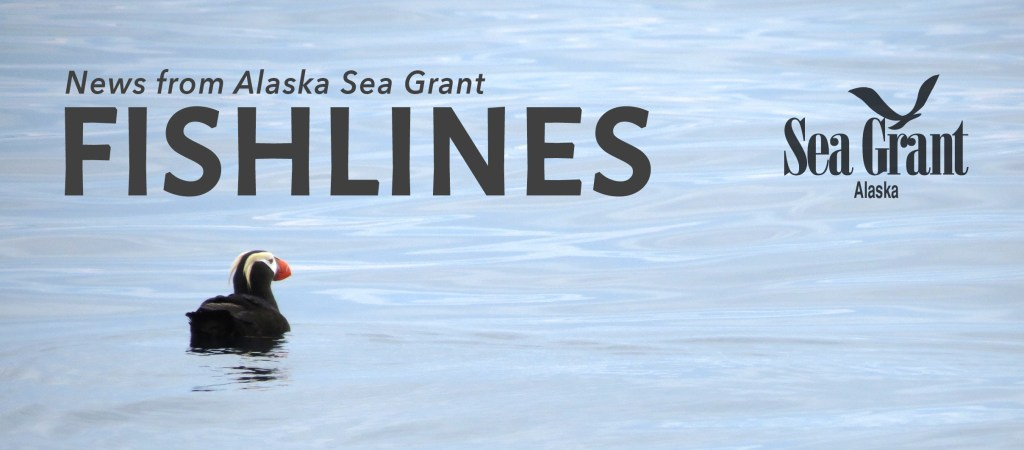 Fishlines banner with tufted puffin photo