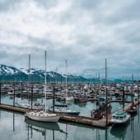 Boats docked in harbor in Seward, Alaska.