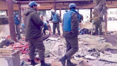 صورة الهمجية الصهيونية والتآمر الاممي تحت اللواء الاميركي مجزرة 18 نيسان 1996 عيّنة صغيرة من بحر ارهابهم