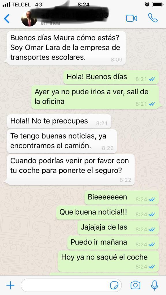 Conversación de whatsapp con la empresa de autobuses