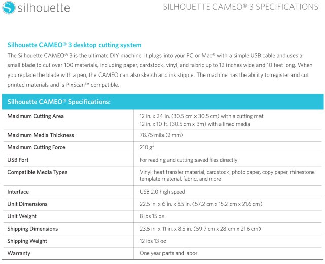 cameo_3_specifications