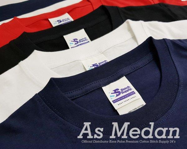 Kaos polos premium cotton stitch supply 24's