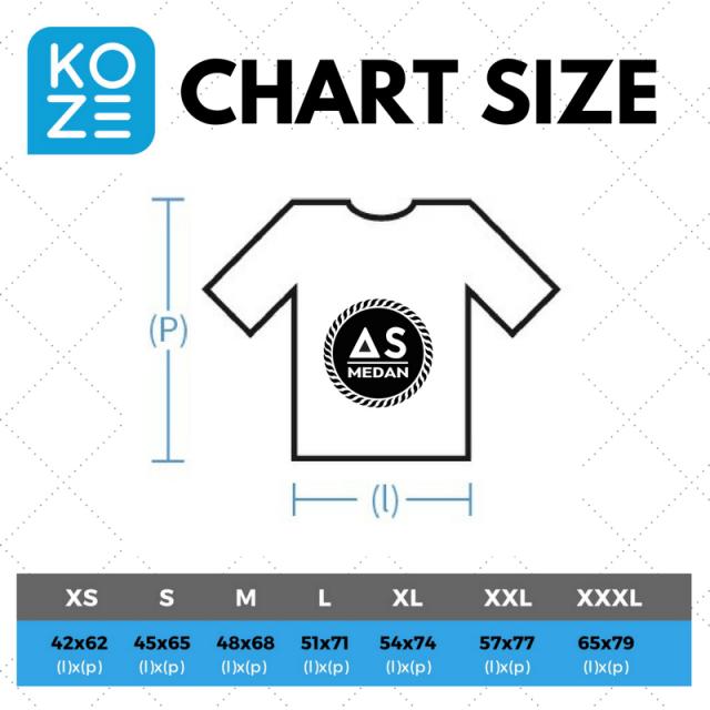 Size chart kaos polos premium koze