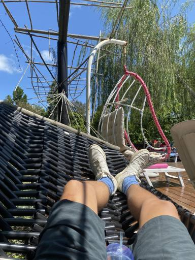 Chilling in a hammock at the hostel
