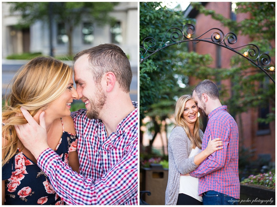 An image of a closeup view of an engaged couple snuggling close, tenderly touching noses, and a view of them standing as they happily embrace      in German Village - Columbus OH
