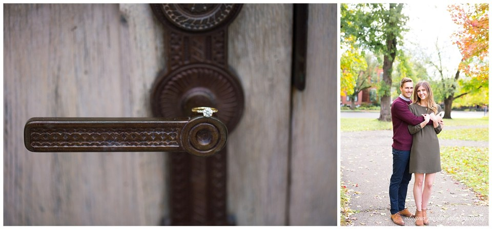 A picture of a closeup view of an engagement ring gracefully sitting on the vintage door handle of a rustic door, and a view of the engaged couple holding each other close in an outdoor fall setting in the German Village neighborhood in Columbus OH by Alayna Parker Photography  - Columbus OH engagement photographers