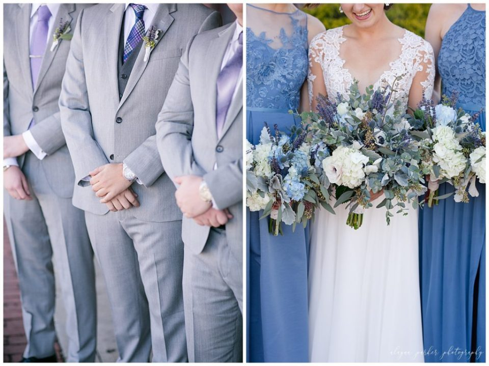 A picture of a closeup view of the groom and his groomsmen in their gray tuxedos, and a closeup view of the bride's bouquet as she stands near two bridesmaids dressed in blue at Station 67 on W Broad St in Columbus by Alayna Parker Photography  - Columbus  wedding photographers