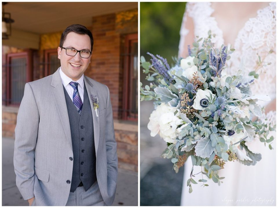 An image of a smiling groom in his handsome gray tuxedo, and a closeup of the bride's beautiful wedding bouquet with blue, purple, sage and white colors featured at Station 67  by Alayna Parker  - Columbus OH wedding photographer