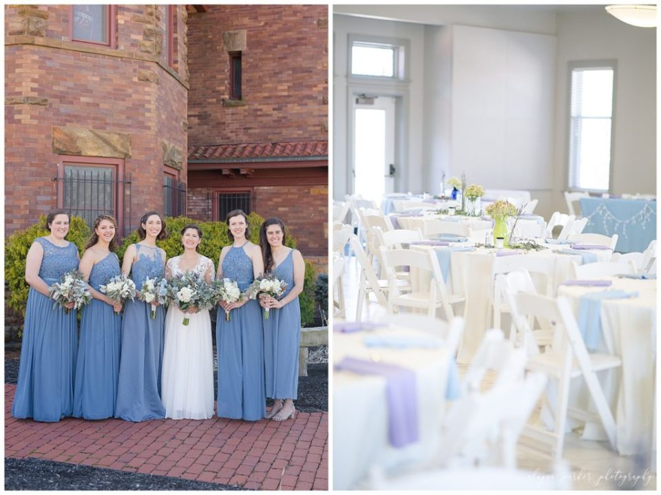 A photograph of a long-range view of a bride and her bridesmaids smiling, lined up together outdoors, and a view of the tables decorated and ready for guests at a wedding reception at Sation 67 in downtown Columbus by Alayna Parker Photography  - Columbus OH wedding photography