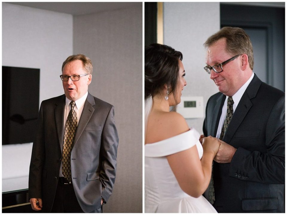 An image of the bride's father, nervous before the wedding, and a view of the bride and her father holding hands and sharing a tender moment together before the wedding at a Hotel LeVeque wedding by Alayna Parker Photography  - Columbus Ohio marriage photography
