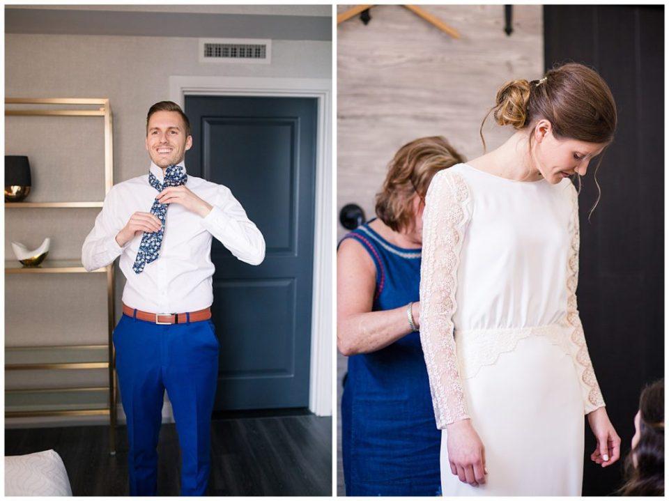 groom putting on floral tie