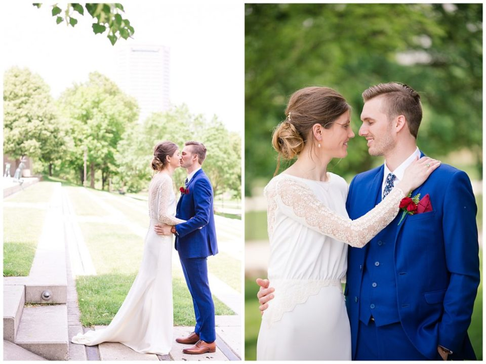 bride and groom share kiss after first look