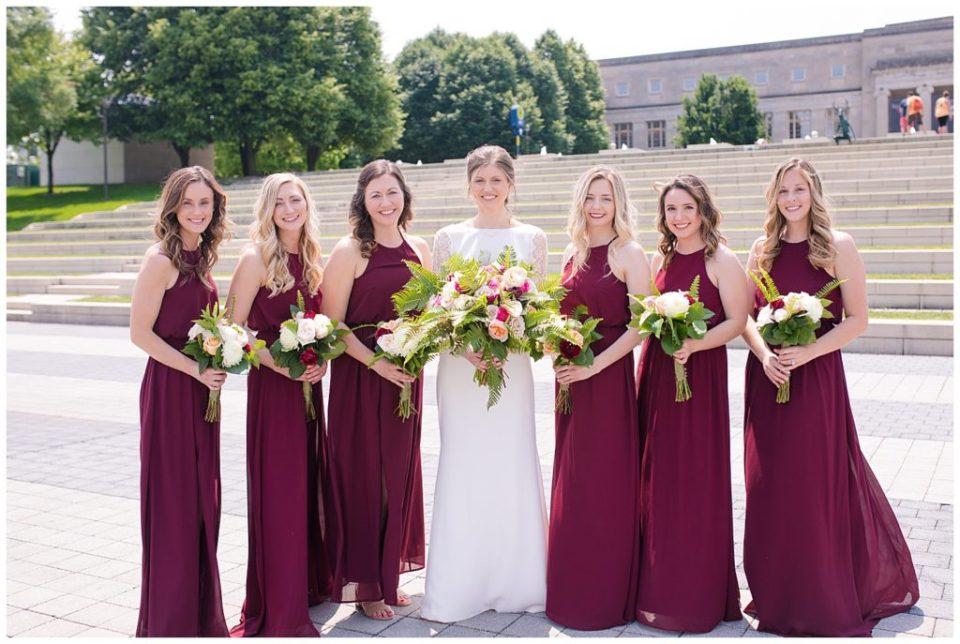bride and bridesmaids at genoa park