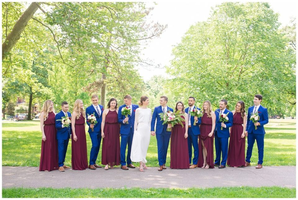bridal party at schiller park
