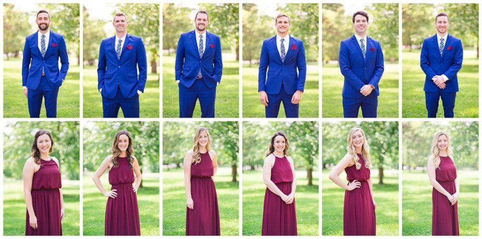 groomsmen wearing royal blue suits and bridesmaids wearing burgundy dresses