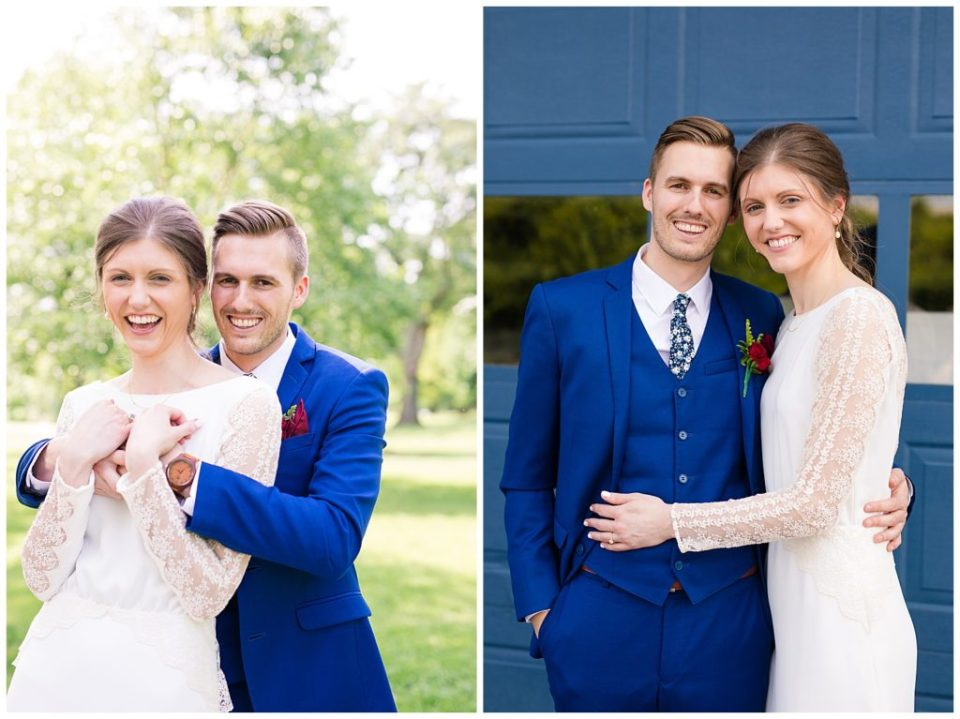 A picture of the bride and groom smiling and embracing, and a view of them holding each other with big smiles at Dock 580 wedding venue in downtown Columbus by Alayna Parker Photography  - Columbus  marriage photography