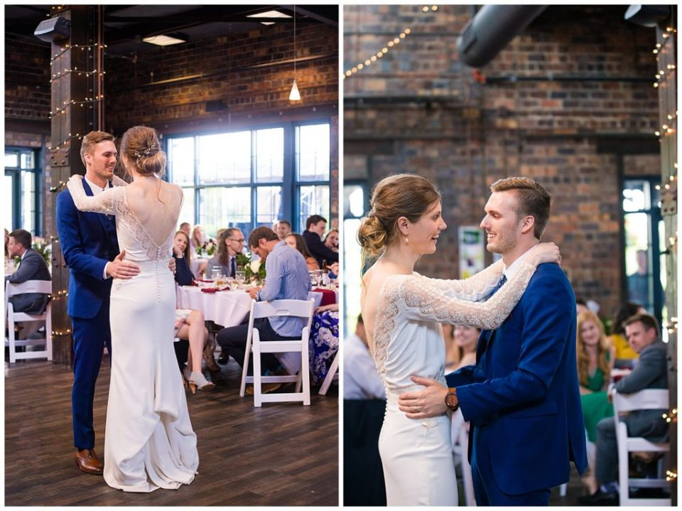 bride and groom share first dance at dock 580