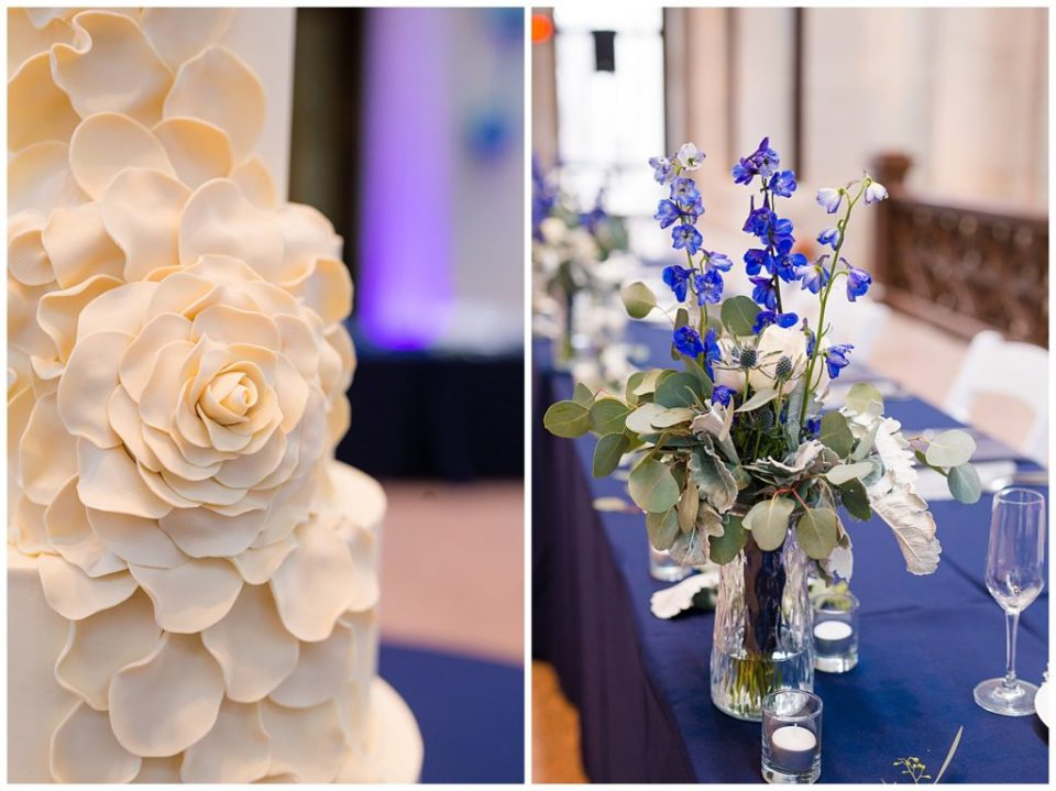 A picture of a closeup view of the icing flowers on a wedding cake, and a view of the head table decorations at the wedding reception at an Ohio Statehouse wedding by Alayna Parker Photography  - Columbus  wedding photographer