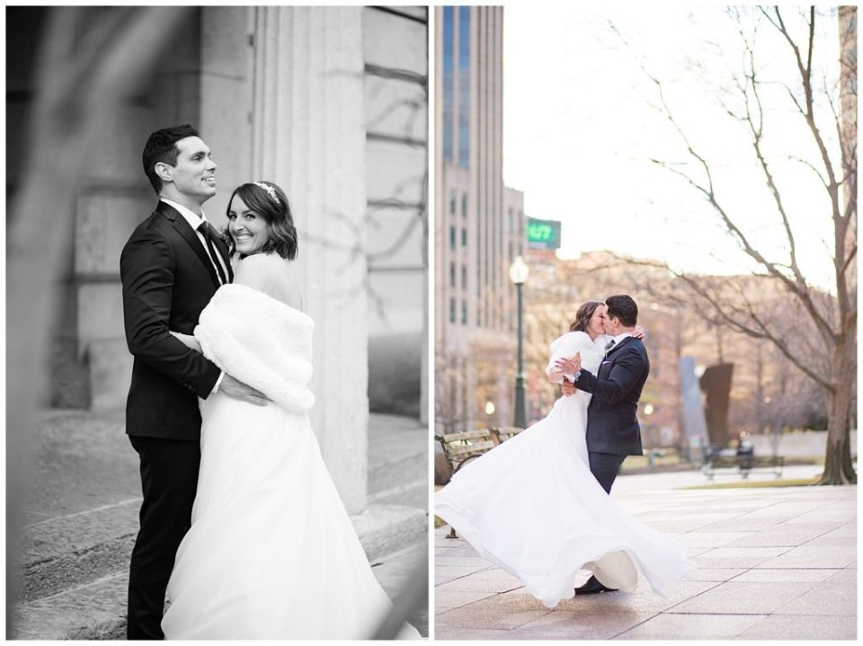 A picture in black and white of the bride and groom smiling and holding each other outdoors, and a view of them kissing romantically outdoors as the bride's train flows around her at an Ohio Statehouse wedding by Alayna Parker Photography  - Columbus  marriage photography