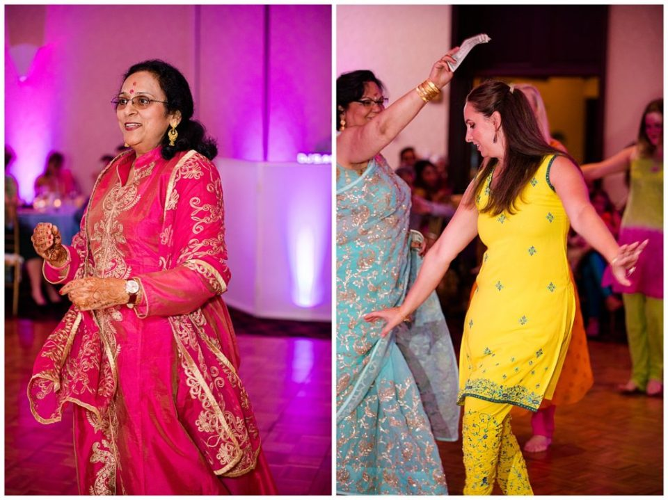 An image of the groom's mother dancing at a Hindu engagement party, and a view of a guest dancing at the party at the Bertram Inn wedding venue by Alayna Parker  - Akron Ohio engagement photographer
